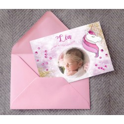 Faire-part naissance licorne LEA